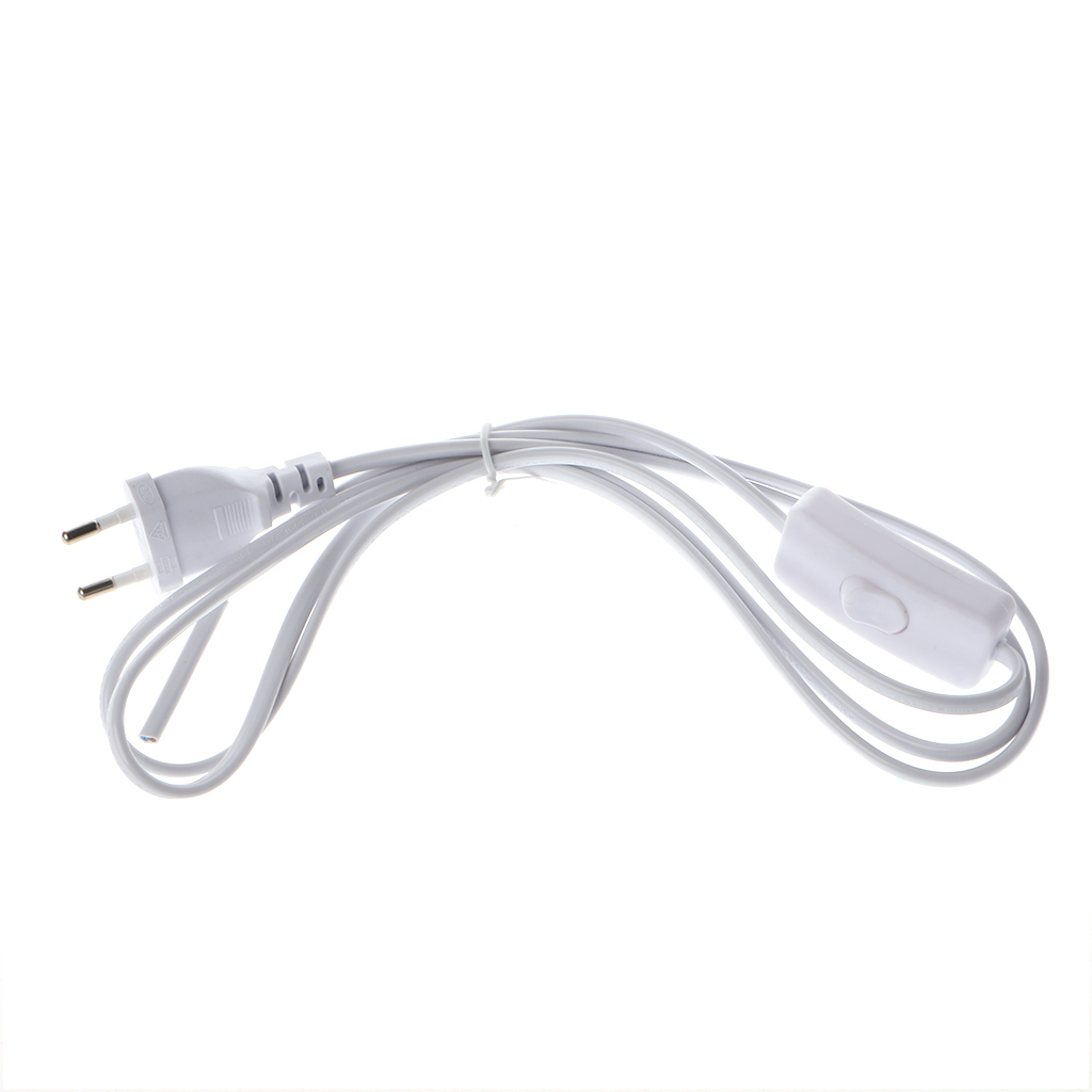 1.8m EU Plug <font><b>Cable</b></font> <font><b>White</b></font> Line with On/Off Switch Button <font><b>Power</b></font> Cord For LED Lamp image