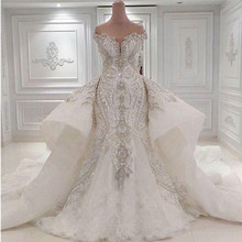 Luxury Beaded Mermaid Wedding Dress With Detachable Overskirt Dubai Arabic Sparkly Crystals Diamonds Bridal Gowns