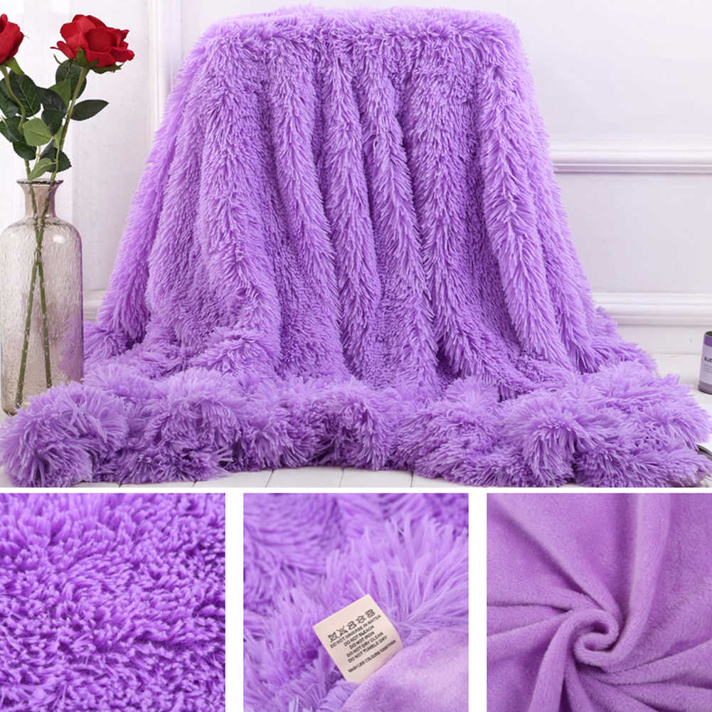 80x120cm cobertor macio fofo shaggy quente cama sofá colcha folha de cama lance cobertor cor sólida cobertor confortável