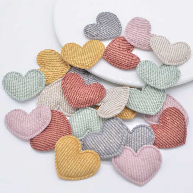 50pcs Lots Sweet Love Heart Patches Fabirc Pads Appliques Diy Crafts Accessories Women Girls Sewing On Clothes Headwear Sticker Patches Aliexpress