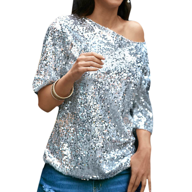 Sexy Sequined Blouses Women Loose Off Shoulder Glitter Shirts Summer tunics Vintage Streetwear Party Club Wear Tops Pink Silver