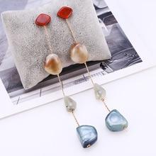 HOCOLE Fashion Geometric Earrings Statement For Women 2019 Trendy Long Stone Resin Pendant Drop Dangle Earring Modern Jewelry