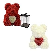 Top-2Pcs любовь сердце, мишка тедди искусственные цветы мыло цветок розы Искусственные Рождественские подарки для Для женщин подарок ко Дню Святого Валентина, красный