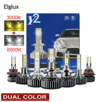 Elglux LED Turbo Canbus Car Headlight H1 H4 H7 H11 HB3 HB4 120W 11600LM 3000K 4300K 6000K Yellow White Dual Two Color LED Bulbs image