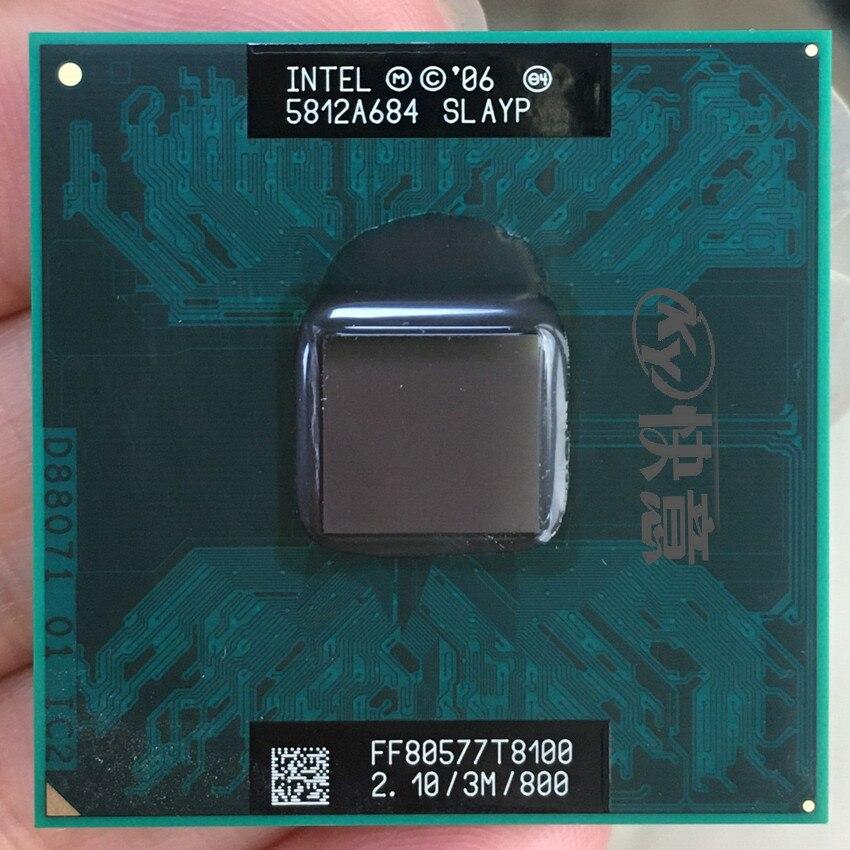 Оригинальный процессор lntel Core 2 Duo T8100 (3M кэш, 2,10 ГГц, 800 МГц FSB, двухъядерный) для ноутбука GL40 GM45 PM45