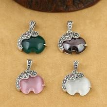 925 Sterling Silver Sewelry Retro Thai Silver Women Elephant Inlaid Marcasite Agate Garnet Exquisite Pendant недорого