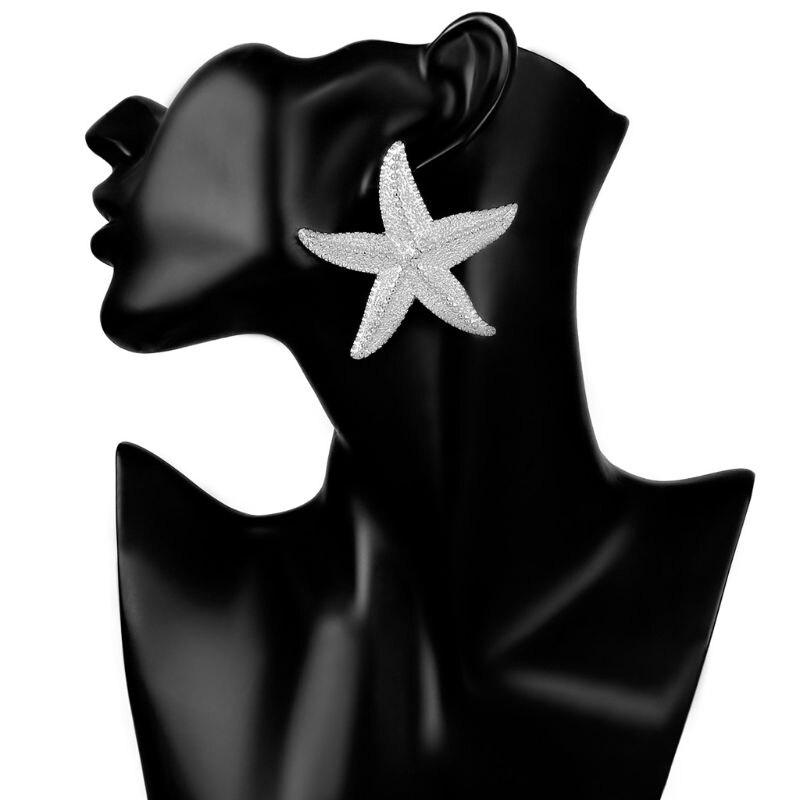 Boho Big Starfish Earrings Ocean Sea Star Bib Studs For Women Statement Jewelry