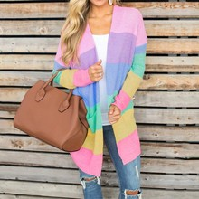 Autumn Sweater rainbow Cardigan for Women Long Sleeve Patchwork Knitted Open Front Rainbow Striped Coat Sueter Mujer Invierno
