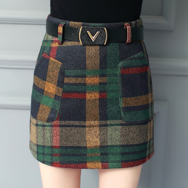 2019 Autumn Winter Plaid Wool Skirt Women Short Skirt Belt Pockets Mini Woolen Checked Skirts Vintage Office Ladies Plus Size