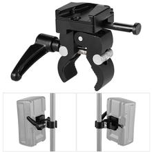 V Mount Battery Adapter with Clamp for Mounting V lock Battery to Light Stand Tripod 1.2Kg Load Capacity Silver Handle