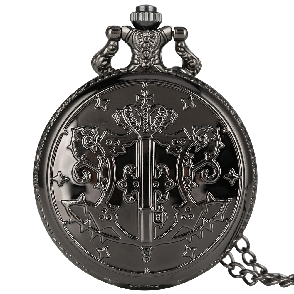 Unique Black Butler Theme Quartz Pocket Watch Large White Round Dial Pocket Watches Alloy Necklace Chain Pendant Chain