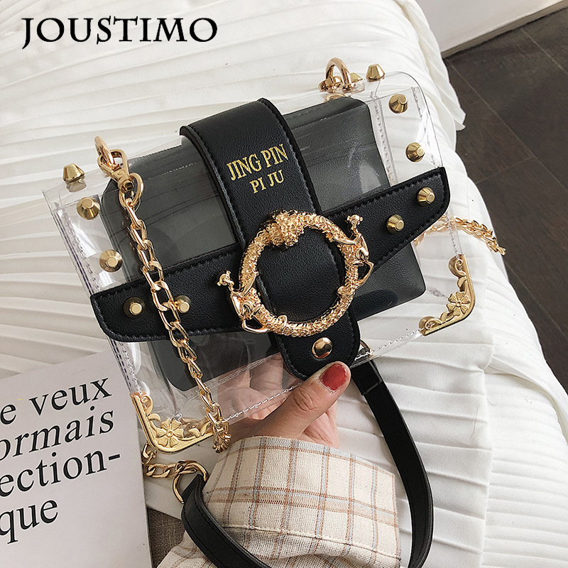 2020 Women Transparent Bag Large Capacity Casual PVC Rivets Chain Square Flap Handbag Composite Bag Lady Shoulder Crossbody Bags