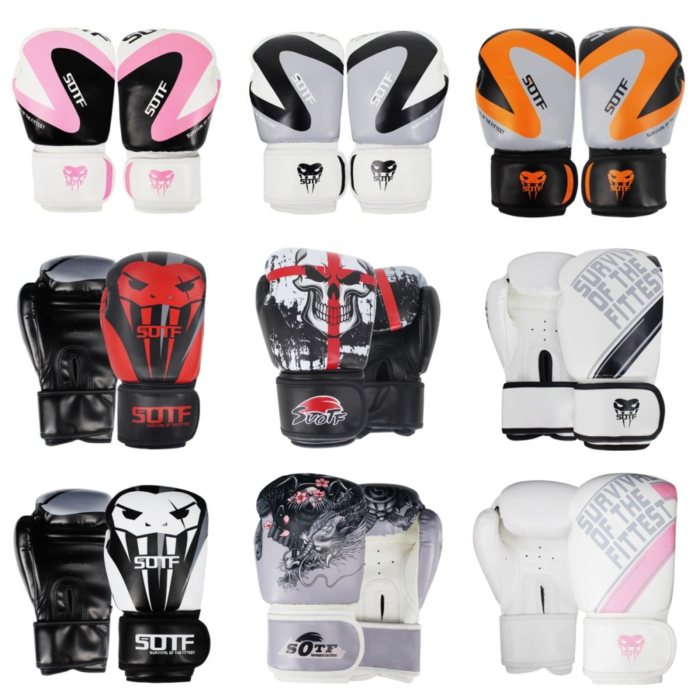 Luvas de Couro Caixa de Luva Suotf Dragão Guerreiro Boxe Esportes Tigre Muay Thai Pads Luta Feminino – Masculino Sanda Mma