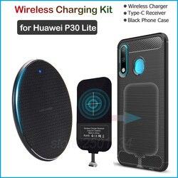 Беспроводная зарядка для huawei P30 Lite Qi Беспроводное зарядное устройство + usb type C адаптер приемника подарок Мягкий ТПУ чехол для huawei P30 Lite