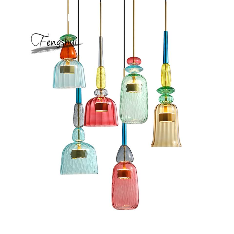 Nordic Macaron LED Glass Pendant Lights Lighting Bedroom Living Room Interior LOFT Modern Pendant Lamp Restaurant Indoor Decor