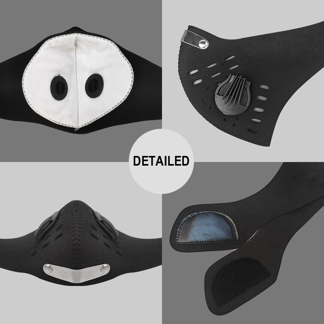 X-TIGER Facemask PM 2.5 Anti-Pollution Bike Face Mask Activated Carbon Breathing Valve Cycling Mask With Filter 4