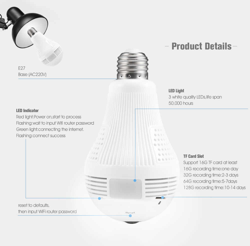 360 Degree LED Light 960P Wireless Panoramic Home Security Security WiFi CCTV Fisheye Bulb Lamp IP Camera
