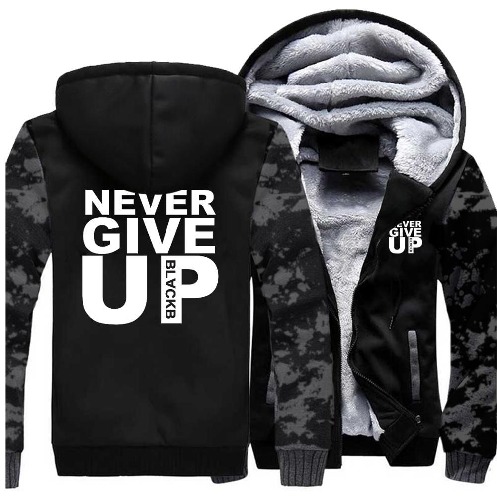 Mens Hoodies Never Give Up Tracksuit Casual Thick Men's Coat Warm Autumn Winter 2019 Hooded Sweatshirt Male Hoodie Men Jacket
