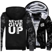 Mens Hoodies Never Give Up Tracksuit Casual Thick Mens Coat Warm Autumn Winter 2019 Hooded Sweatshirt Male Hoodie Men Jacket
