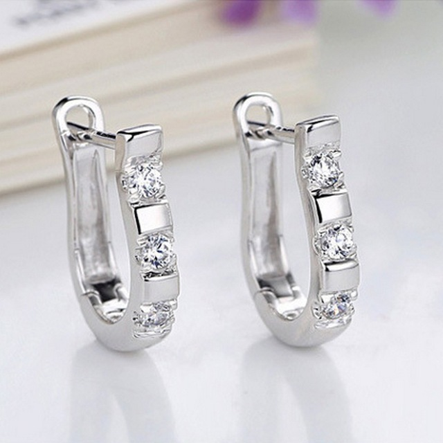 Zircon Studs HorseShoe Earrings  3
