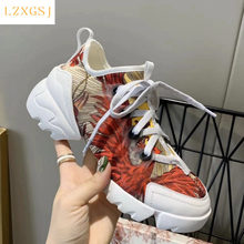 Zapatillas de deporte de marca de lujo para mujer, zapatos deportivos con cordones y suela de cuero grueso, informales, vulcanizados, de diseñador D