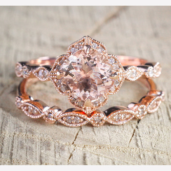 CHAMSS Rose Gold Square Engagement Ring Elegant Temperament Feminine Valentine Gift