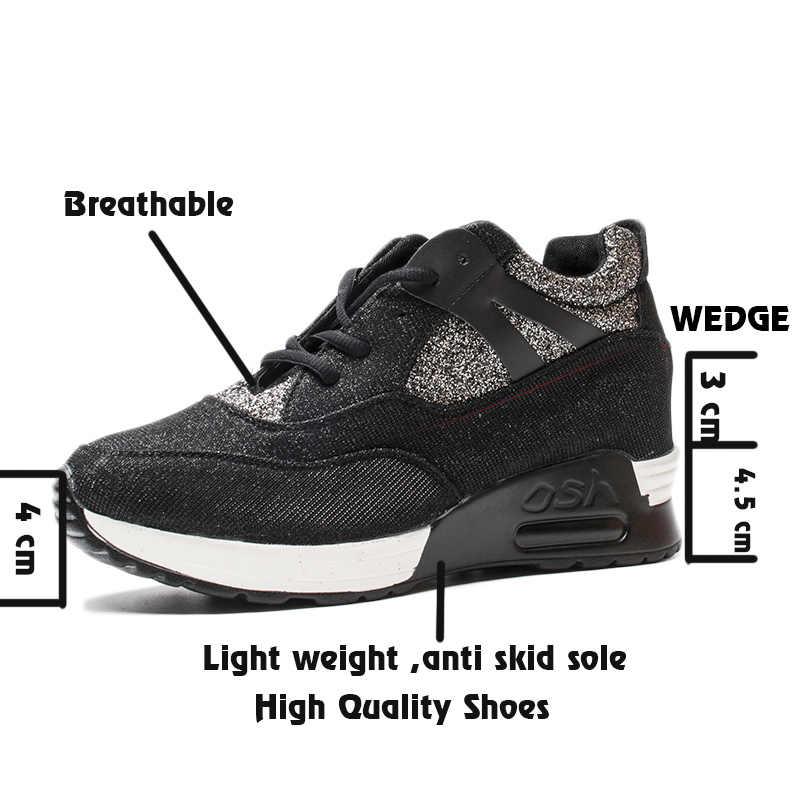 Fujin WEDGE แพลตฟอร์มรองเท้าสบายๆฤดูร้อนรองเท้าผ้าใบ Dropshipping หรูหราผ้าสะท้อนแสง Shine รองเท้ารองเท้าผ้าใบหญิง