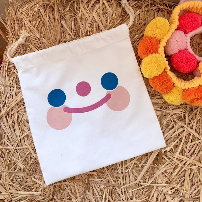 Cute Durable Cloud Smile Pattern Drawstring Bag Pocket Girl Storage Carrying Case Puppy Bunch Pocket