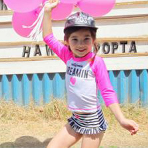 South Korea Long Sleeve Sun-resistant Split Type Three-piece Set Medium-small KID'S Swimwear Bikini Skirt Stripes Girls Swimming