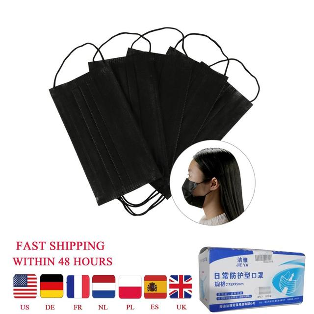 3layers 10/20/50pcs/Bag Mouth Mask Disposable Black Cotton Non-Woven Mask