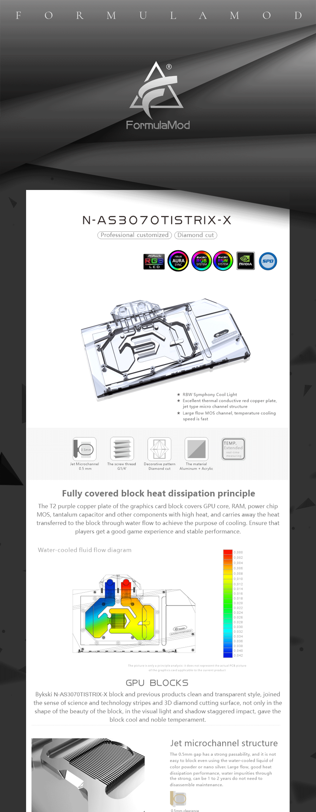 Bykski GPU Block For ASUS ROG STRIX RTX3070TI 08G GAMING Full Cover With Backplate GPU Water Cooling Cooler, N-AS3070TISTRIX-X