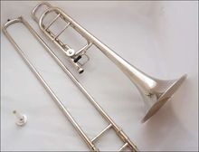 Newest Beautiful Bb/f  Tune Bach Tenor Trombone Nickel plated musical instrument with Mouthpiece Cleaning Stick Case