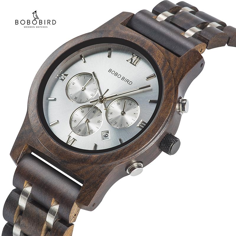 Customized Name Watch BOBOBIRD Wood Men Wrist watches Quartz Chronograph Clock relogio masculino With Gift Box Bracelet V-P19-3