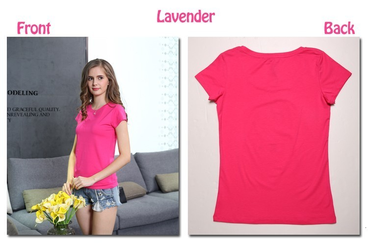 High Quality Plain T Shirt Women Cotton Elastic Basic T-shirts 48