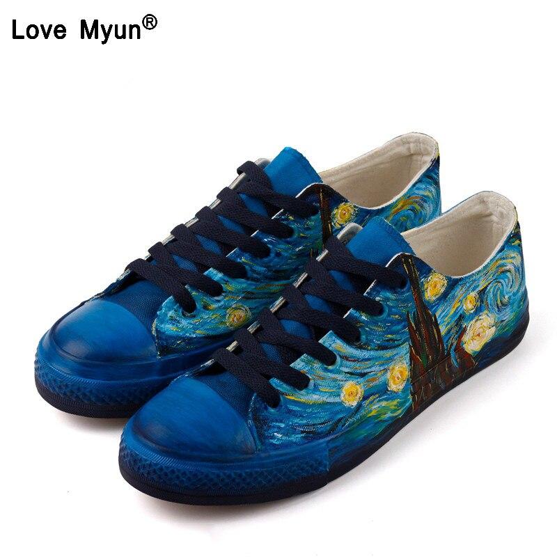 Women Canvas Shoes Vincent Van Gogh Famous Paintings Hand Painted Shoes 2018 Fashion DIY Cross Tied Shoes Woman Design Yju8