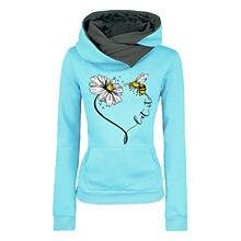 Flor dos desenhos animados abelha impresso moletom feminino casual hoodies bolsos manga longa pulôver topo moda outono inverno roupas quentes