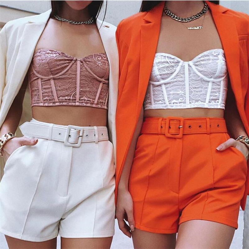 Autumn Solid Blazer Jacket &High Waist Short 2pcs Set Long Sleeve Suits 2020 Fashion Office Wear Women's Costumes Female Sets