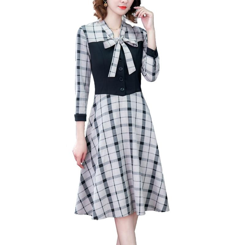 Fashion Autumn Dresses 2019 New Arrive Women Plaid Dress Casual Knee-Length Empire Bow Party Dress Vestidos Office Lady Clothing 35