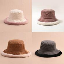Женская Вельветовая шапка плотная теплая с плоским верхом для