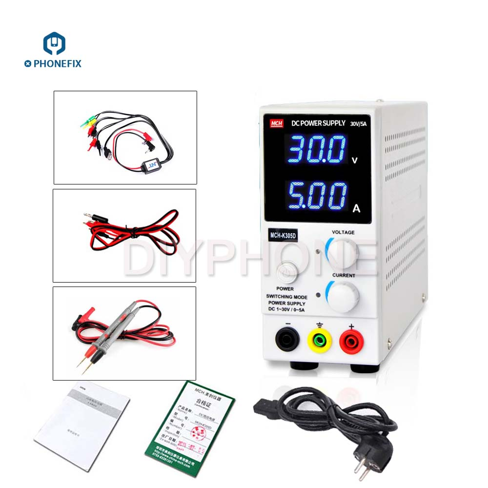 PHONEFIX <font><b>MCH</b></font>-<font><b>K305D</b></font> 30V 5A <font><b>MCH</b></font>-K303D 30V 3A Switch Regulated SMPS Single Channel Variable with Cable Adjustable DC Power Supply image