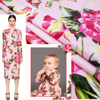 Autumn new women's finished printed fabrics Europe and the United States brand parent child pink large flower fabric customized