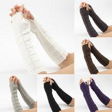 Вязаные шерстяные длинные перчатки на полпальца зимние варежки