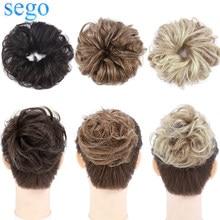 SEGO 32g натуральные пряди Remy на клипсах из натуральных волос на кружевной шиньон грязный, обтянутая тканью; Эластичная лента пучок волос прямы...