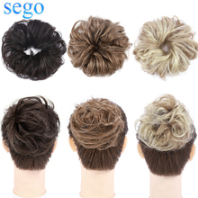 SEGO 32g Remy Real Human Hair Chignon Messy Scrunchie Elastic Band Hair Bun Straight Updo Hairpiece Ponytails