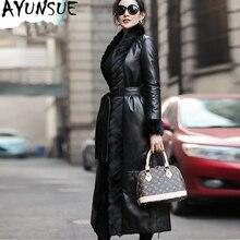 AYUNSUE veste en duvet coréen pour femmes 2020, veste en cuir véritable, col en vraie fourrure de vison Long manteau en peau de mouton MY3743