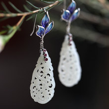 CMajor Sterling Silver Jewelry S925 Silver Chinese Classical Style Nephrite Jade Drop Earring For Women(China)