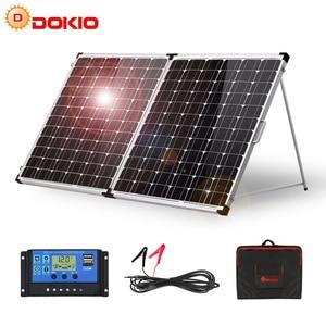 Image 1 - Dokio 200w (2 pces x 100w) painel solar dobrável china + 10a 12v/24v controlador dobrável painel solar pilha/sistema carregador painel solar