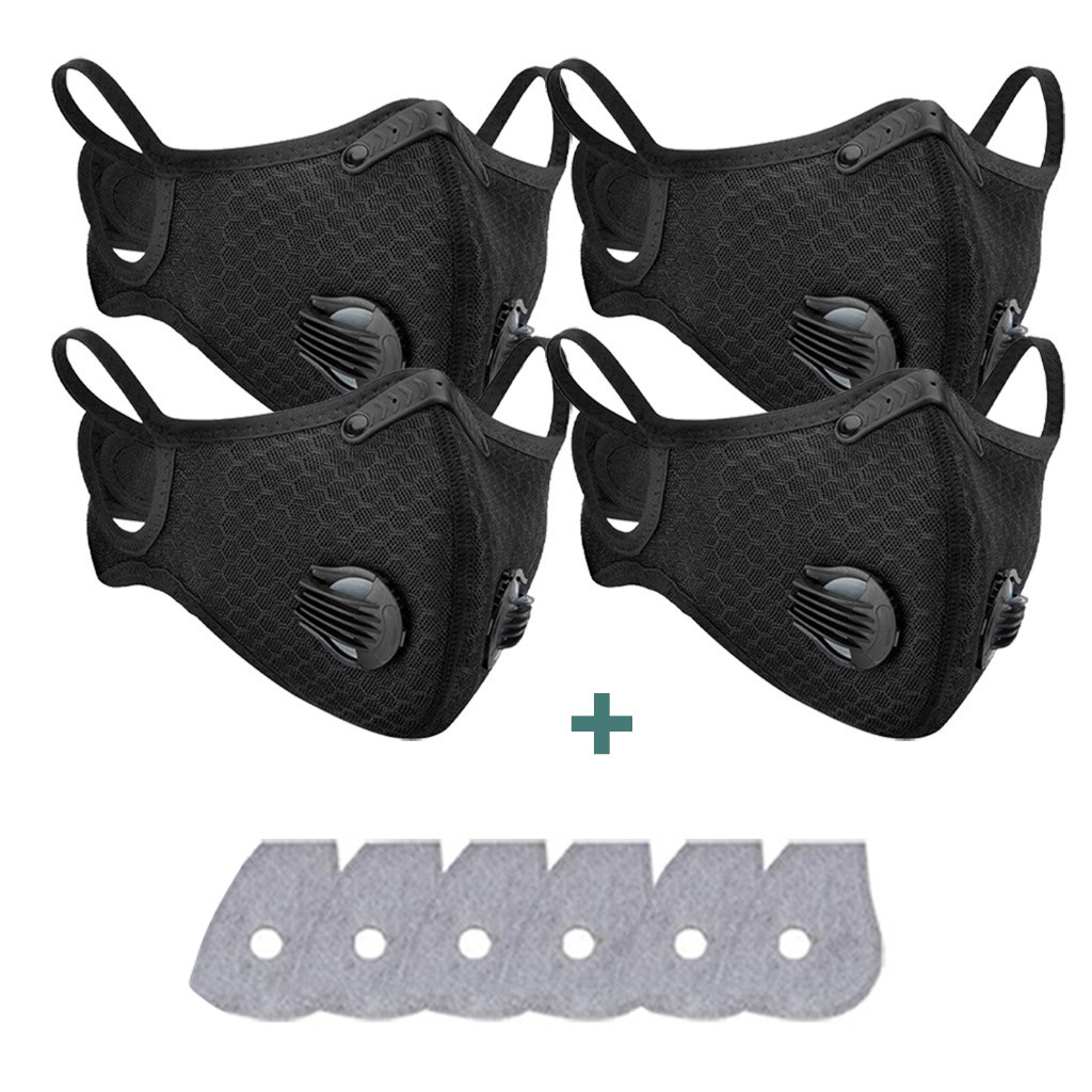 4 Pcs Fashionable Washable Reusable Anti-pollution Face Maske Respirator Dust Maske Unisex Mouth Face Maske With 6PC Filter