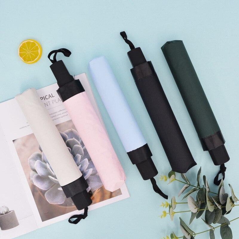 Three-fold thickened vinyl sunshade Umbrella Rain Women Gift Men Parasol Girls Anti-UV Waterproof Portable Travel Umbrella