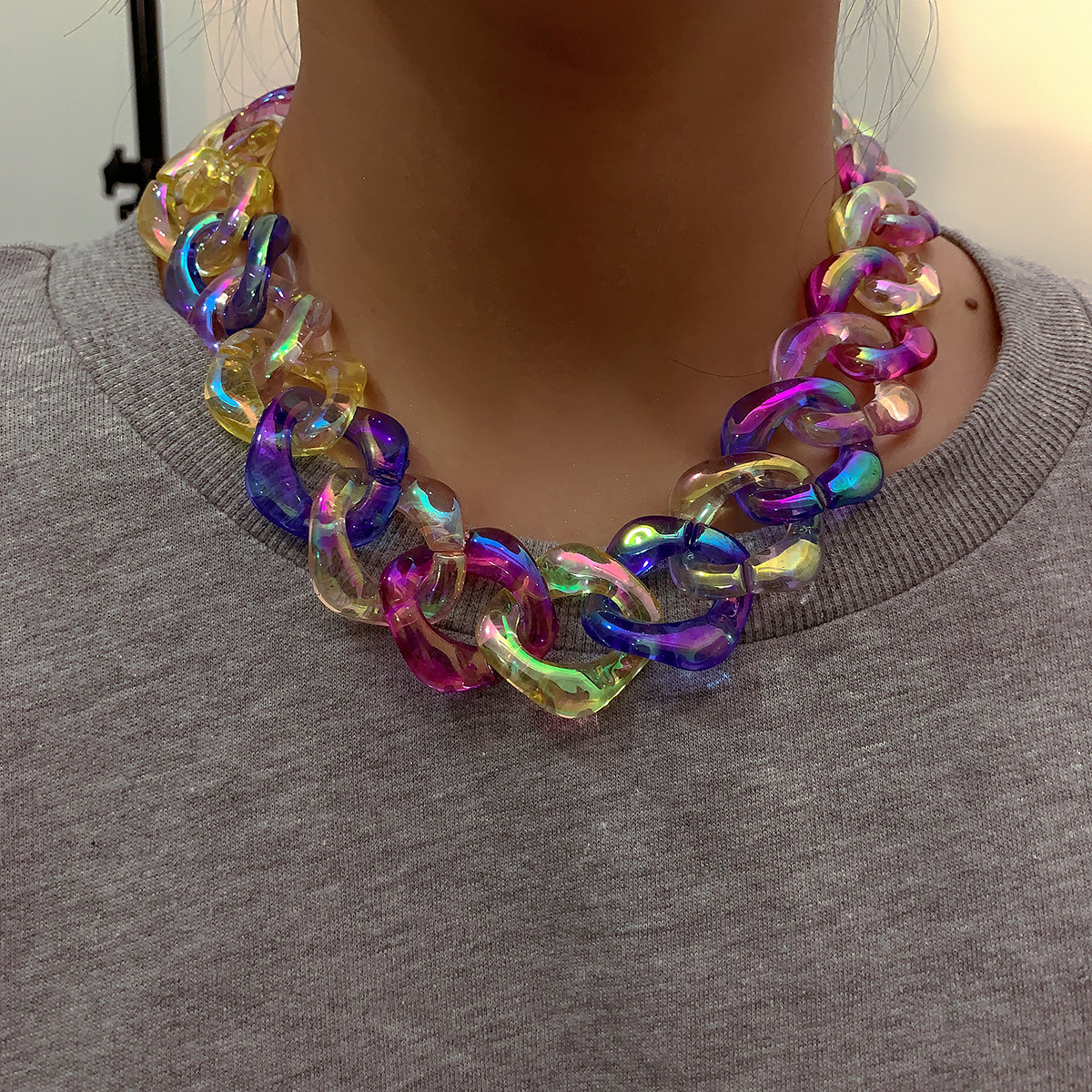 2020 New Punk Style Colorful Acrylic Chains Necklace for Woman Clothings Accessories